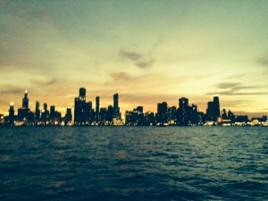 Chicago skyline from the Joint Adventure as the sun sets