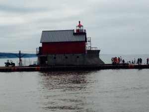 The lighthouse marking the entrance to Grand Haven harbor