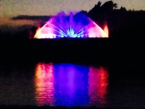 A view of the quite professional light & fountain show across the Grand River - we were docked at the Municipal Marina right next to downtown and across from the light show, which we could watch from the bridge of the boat. The show is so popular that the town erected a grandstand on the waterfront directly across from the show