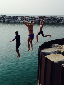 This Mom's two boys talked her into jumping off the end of the jetty with them into the harbor - YIKES!