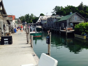 The shanties of Fishtown, looking up the Leland River