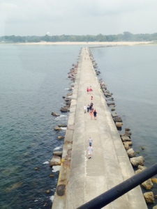 A view from the top of the Ludington lighthouse of the 1/2 mile long jetty leading to the lighthouse