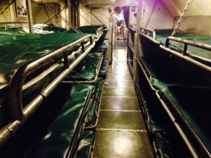 We're having these bunks installed in the Joint Adventure so we can fit more people on board - actually, they're bunks on the LST 393, a World War II landing ship that delivered tanks to beaches.  It can hold 52 tanks, and delivered tanks to Italy, North Africa, and the beaches at Normandy