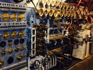 One of about 8 control panels inside the submarine