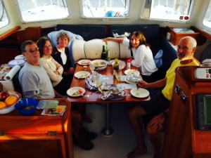 While the weather was spectacular - warm, sunny, no wind - the mosquitos were having a field day as the sun was getting ready to set, so we served our on-board dinner inside