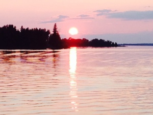 Sunset from the bridge of the Joint Adventure at Drummond Island