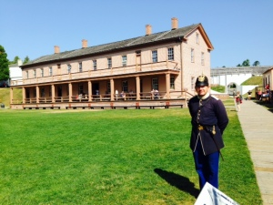 The barracks inside the fort. Verious re-enactments, including musket firing and cannon firing and a court-marshall take place throughout the day