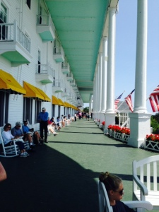 The 600-foot long porch at the Grande Hotel