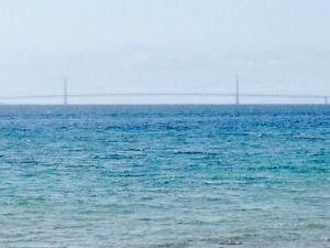 A view of the Mackinaw Bridge from the bike path