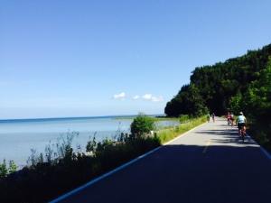 An 8 mile long paved bike path along the water's edge completely encircles the island. The scenery is spectacular!