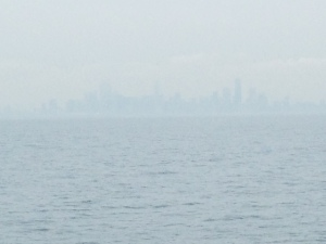 It was hazy, hot, and humid as we approached Chicago - this picture was taken from about 5 miles out -