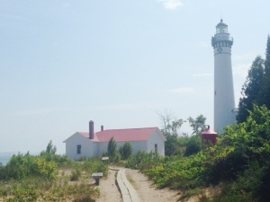 The lighthouse on South Manitou Island near the ferry dock