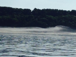 This actually looks like a wave of water, but it is a fog formation a little ways from the shore