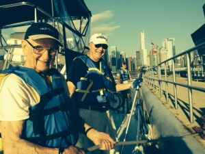 Manning the lines entering the Chicago River: left to right, my Dad (Hank), who turns 90 next month, and Tom, co-owner of the Joint Adventure. Paul is in the background, manning the bow line
