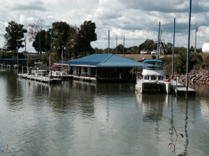 A pleasant marina in Clifton, Tennessee - located in a small cove, everything floating with the fluctuating river level -