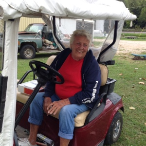 Fern in her ever-present golf cart that she uses to get around as she tends to everyone's needs at Hoppies