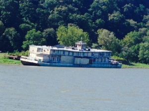 An old derelict replica paddlewheeler beached along the river.  Janet, this is Doug's next project - he told me you wouldn't mind moving in while he renovated it