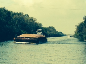 "Our first ""tow"" - a tug pushing a single barge."