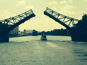 One of the drawbridges opening for us as we approached - the boat in the picture was traveling with us as well