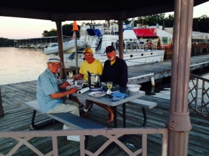 Dinner in the gazebo at the end of the dock -