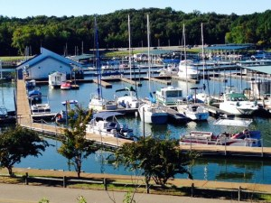 The marina at Paris Landing State Park, Tennessee. Many of the slips are empty as we are well into the Fall