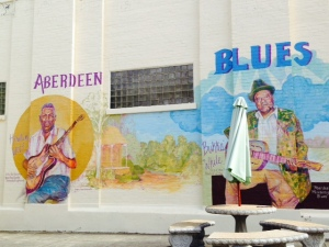 Aberdeen has a rich history with music, particularly the blues, as captured in this large mural on Main Street