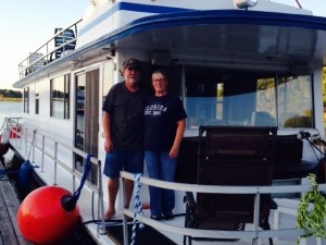 This is Keith and Debby and the houseboat that they plan to live on. Keith was a trucker for years but was forced to retire for health reasons. He sold this boat a year ago, but had to repossess it due to lack of payment. So we met them on the Tenn-Tom as they were bringing it to Mobile, then on to New Orleans where they live. Keith intends to earn a living buying older boats, fixing them up, then selling them.