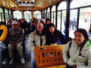 All piled into the trolley for a ride around the grounds at the Falls