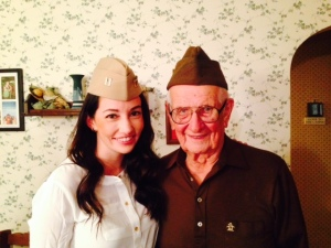 Our daughter Jessie, who is currently serving in the Navy JAG Corp and my Dad - both wearing their military hat - my Dad's from his service in World War II