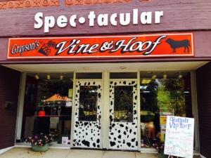 "I couldn't figure out what a ""Vine & Hoof"" shop would be - Paul guessed it would be a wine and beef store. It turned out to be a wine and beer store -"