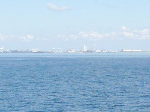 Entering Mobile Bay - the city of Mobile is in the background.