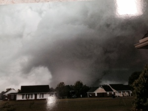 This is a photo of the actual tornado, taken by a resident moments before ducking into a tornado shelter. The clerk at the hardware store showed us this and many other pictures she had