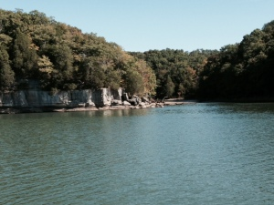 There are many creeks that empty into the Tennessee, including this one entering from the right of the rock formation.  Most of the marinas along the Tennessee are located up these creeks, sometimes a couple of miles up a winding channel