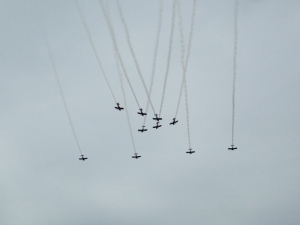 Part of the show featured ten planes flying in unison and doing acrobatics