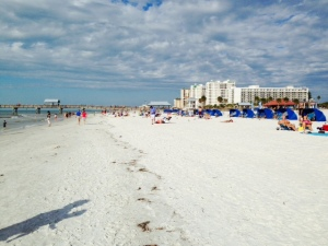 The beach and pier at Clearwater Beach. It was breezy and a bit cool the day we were there, so the beach wasn't crowded