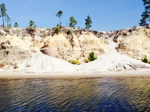 In some areas, the steep sides of the Waterway are susceptible to erosion, with sand constantly washing into the Waterway