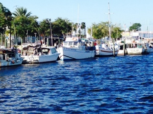 The city of Tarpon Springs is located about 3 miles up Anclote River.  The harbor is fairly narrow and is lined with boats of every description, many rafted 5 and 6 boats deep due to limited space within the harbor