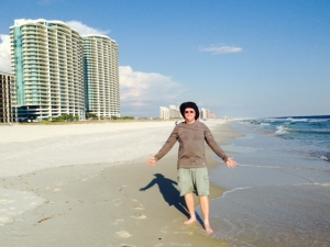Jake enjoying a walk on the beach on the Gulf Coast at Orange Beach, Alabama