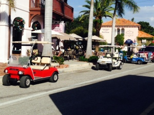 Golf carts are the primary means of transportation on the island, and are available for rent at numerous locations.