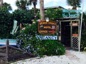 The entrance to a funky hotel on Englewood Beach