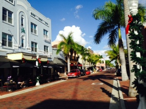 The recent restoration of downtown Fort Myers includes brick streets, royal palms, and renovated historic buildings