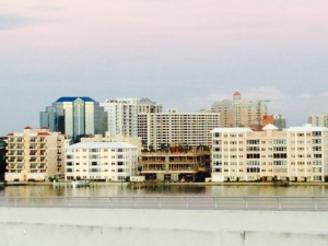 The skyline of the mainland-side os Sarasota consists mostly of residential buildings