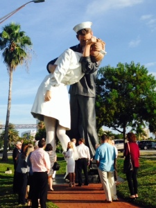 On the mainland-side of Sarasota, there is this enormous statue of the famous photograph taken of a sailor kissing a nurse in the streets moments after the surrender of Japan ending World War II was announced. There happened to be a wedding just getting underway beneath the statue as I rode up on my bike and snapped this picture.