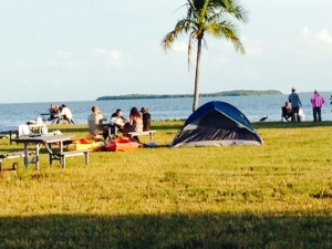 The campground in Flamingo, overlooking Florida Bay. Numerous trails into the Everglades and the Wilderness Waterway originate from Flamingo. A healthy breeze will keep the mosquitos and no-see-ums at bay, but there was no breeze the evening we were there.