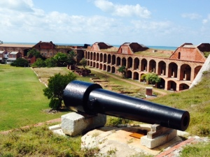 The fort has six sides, and the enormity can be somewhat gauged in this picture that shows about half of one side. Sixteen million bricks had been used by the time construction was halted. Bricks were shipped to the fort from Pensacola until the outbreak of the Civil War, after which, believe it or not, they were shipped from Maine.  The cannon in the foreground weighs 50,000 pounds!