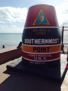 This enormous monument marks the southernmost point in the continental US, and is the most visited single place on Key West.  But it's a fraud. It WAS the southernmost point before World War 2.  However, during the war, the Navy need to expand the naval base and increased the size of the island to 1 1/2 times its original size - including a substantial portion which is south of this point!