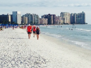 The beach on Marco Island is lined with high-rise condominium buildings and was well used.