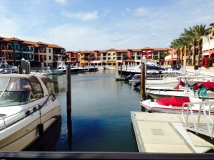 Most marinas in Naples were booked, but we found space at the Naples Bay Resort, an upscale marina surrounded by condos, a hotel, retail shops, and restaurants overlooking the docks