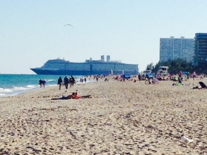 Miami and Fort Lauderdale are Kings of the Cruise Ship industry - an enormous cruise ship leaving through the Fort Lauderdale inlet