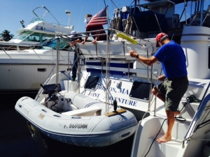 While in Fort Lauderdale, we took the dingy out for a spin. We carry her on a davit, and it takes about 5-10 minutes to untie her and lower her into the water. There is a pulley on each end to facilitate the process. Carrying her on a davit allows us to leave the motor on the dingy so we don't have to lug it on and off and find a place to store it.